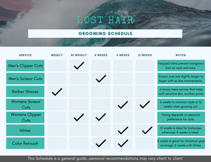 An info graph that defines the timing schedule for various services offered at LOST Hair.