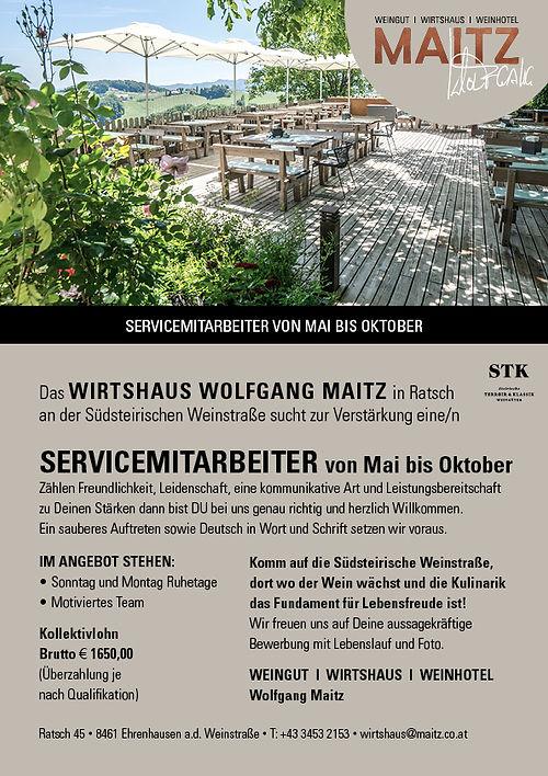 Servicemitarbeiter von Mai bis Oktober.j