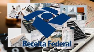 Logo da Receita Federal com mosaico de fotos