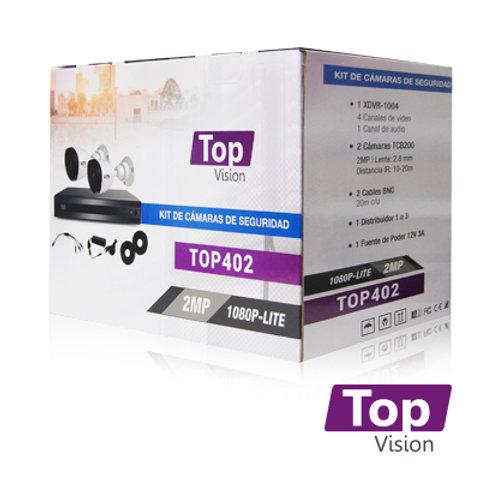 KIT 4X2 TOP402 INCLUYE 1 DVR 4CH XDVR-1004 1080P-LITE + 2 CAM BULLET 1080P 2MP