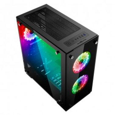 GABINETE GAME FACTOR CSG550 MICRO ATX, 3 VENT 120MM RGB, CRISTAL S/FTE