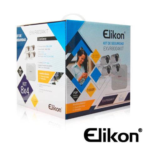 KIT 8X4 ELIKON AHD EXVR8004KIT DVR 8CH+4 CAM BULLET 3.6MM+CABLE FULL HD