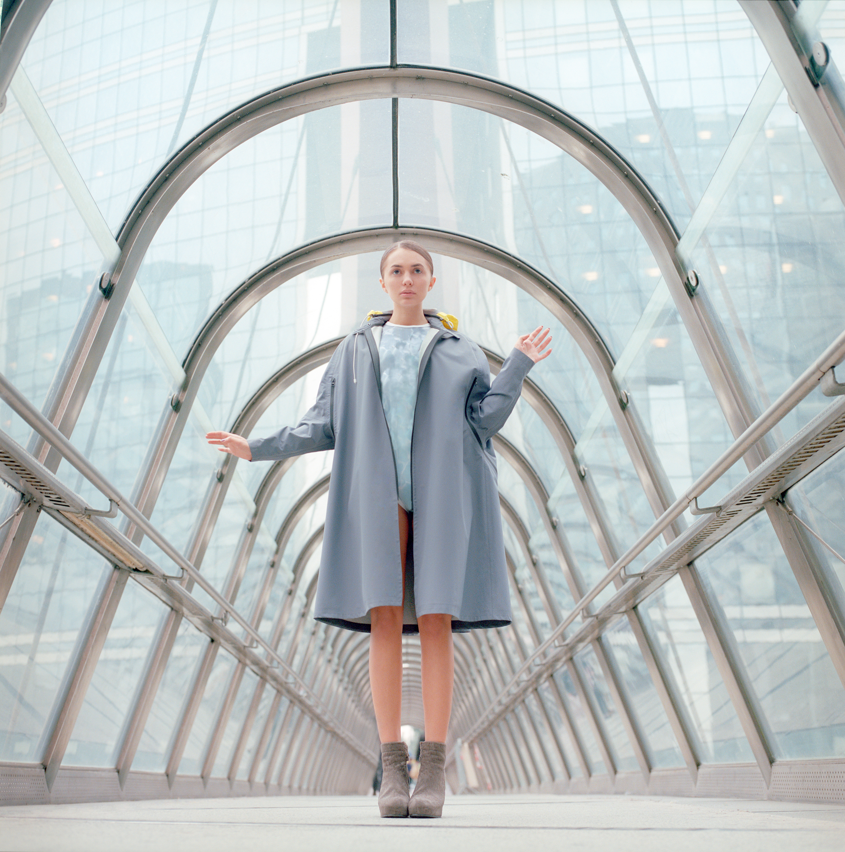 Girl in Glass Tunnel