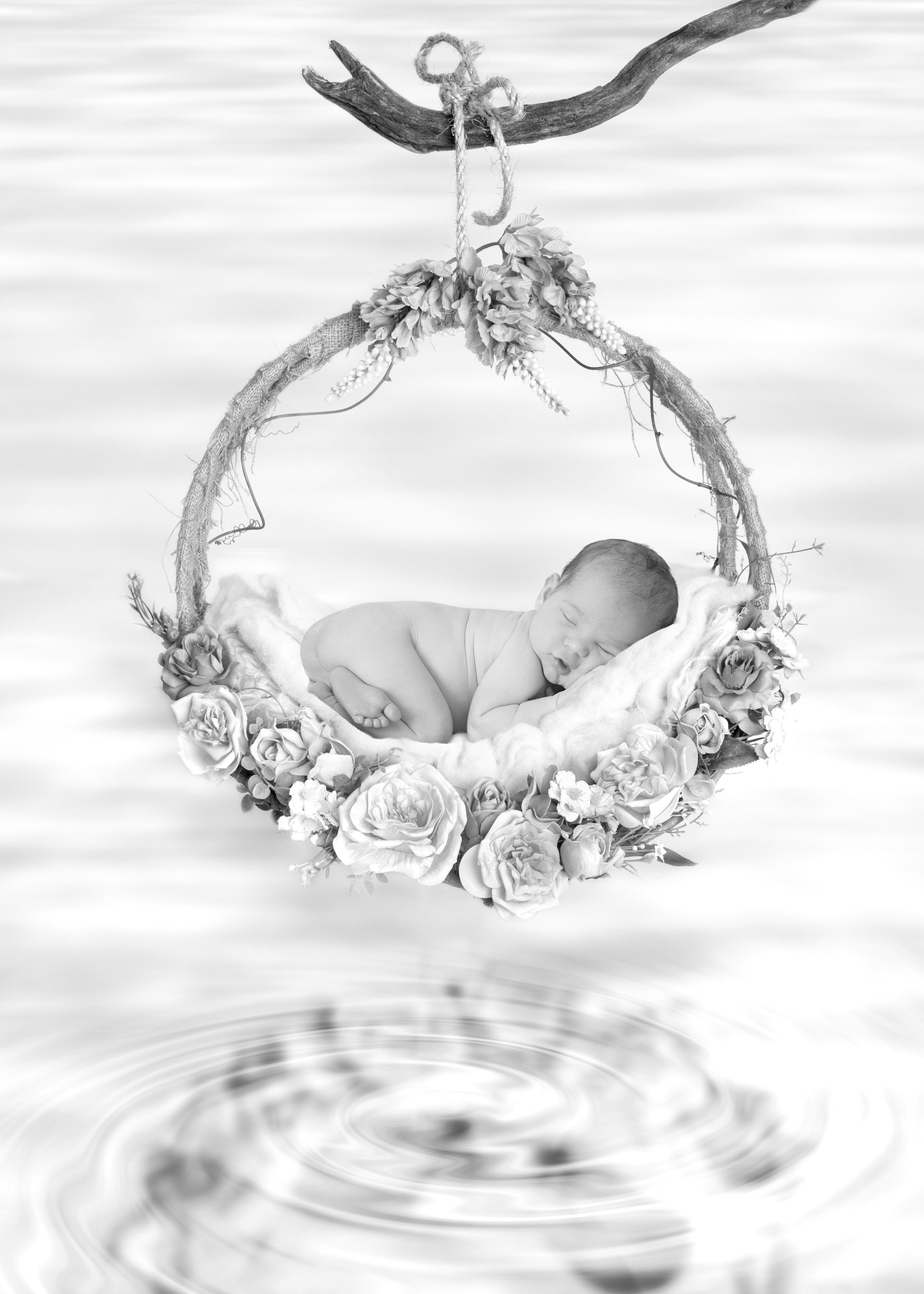 Newborn flower swing photos, Essex