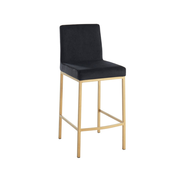 Diego Counter Stool -Black w/ Gold Base
