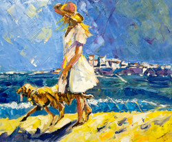 dog_and_woman_by_the_beach