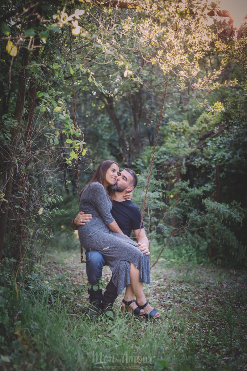 Preboda en el bosque y en casa  - Fotografía de bodas natural en Barcelona - Mon Amour Wedding Photography