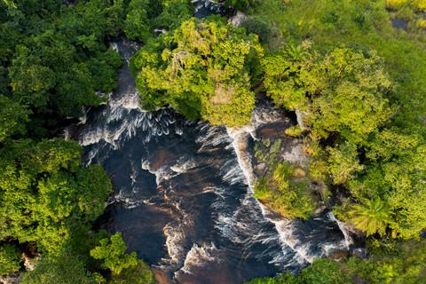 Vue aérienne des rapides de Tsatsala