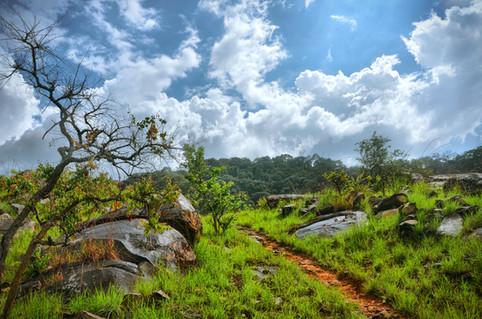 Ciel bleu sur la route de Madiaba