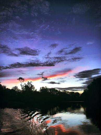 Coucher de soleil sur le lac Conkouati