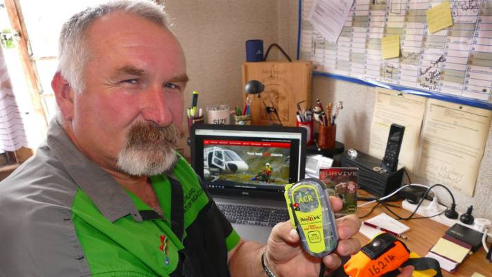 John Munro with one of the hired rescue beacons