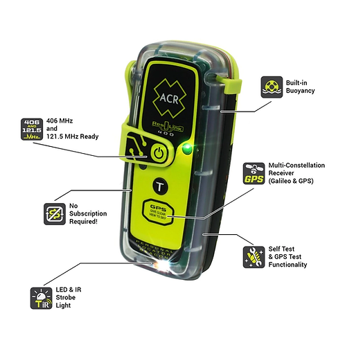 ACR ResQLink PLB - 400 NZ coded Buoyant Personal Locator Beacon, plus free pouch
