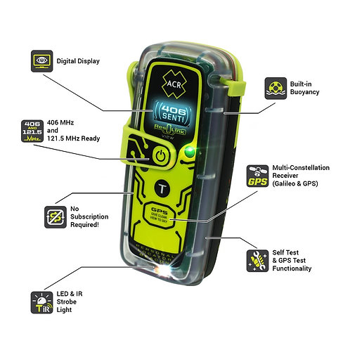 ACR ResQLink View PLB - 425 406 MHz  with Digital Display, Plus free pouch