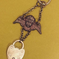 Locked Heart Necklace - cherub with padl