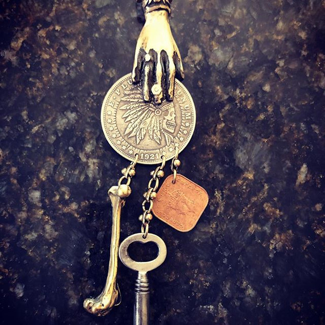 Brass Hand & Dollar Coin Pendant - with