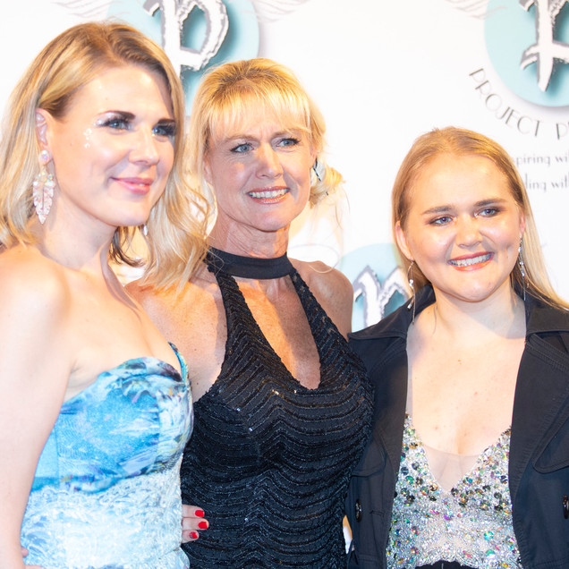 Director shylo Pereira and crew member Sally Englebrecht, with daughter contestant Charlotte Nathanson