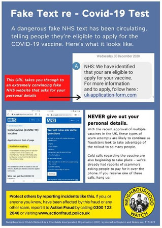 NHS scam attempts. Police warning.