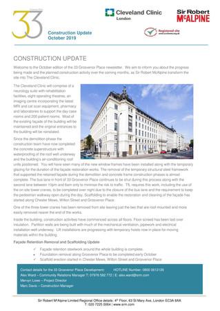 33 Grosvenor Place October update