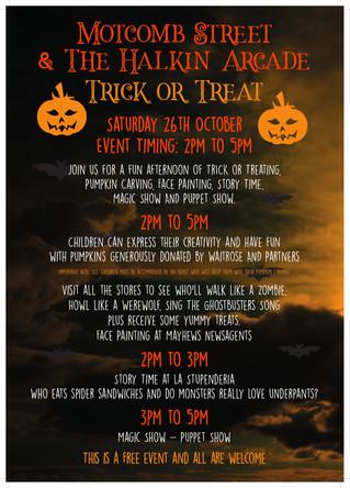 Saturday 26th October - Motcomb St & the Halkin Arcade Trick or Treat
