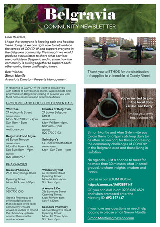 Community Newsletter from Grosvenor - opening hours and more
