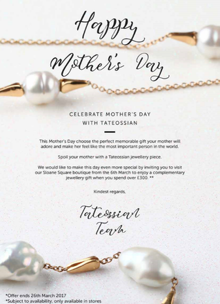 Mother's Day offer from Tateossian Sloan Square