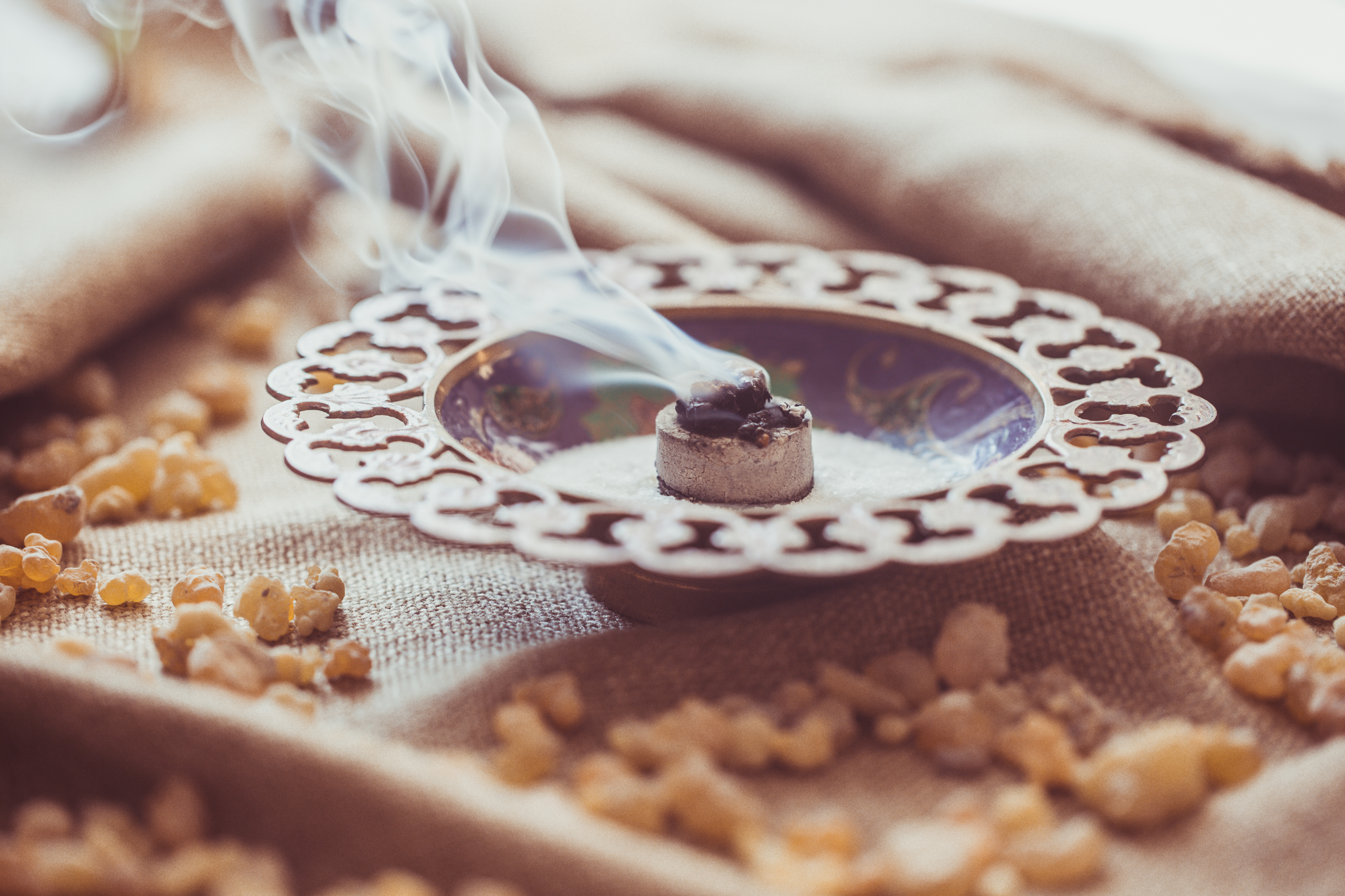 Frankincense burning on a hot coal
