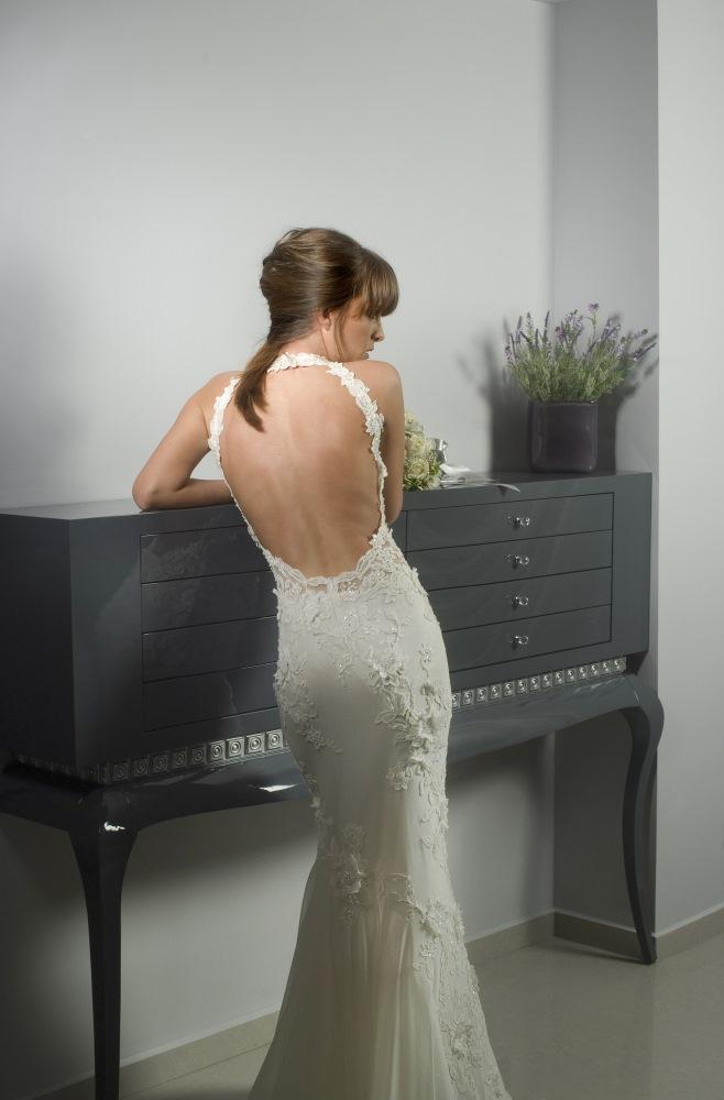 Valentina Wedding dress Lilac Leotard  Mermaid lace open back back - ולנטינה שמל
