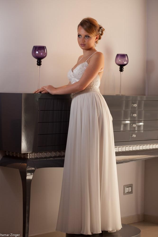 שמלות כלה ולנטינה מחוך תחרה שיפון גב חשוף נשפכת weddidng dresses valentina lace
