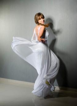Valentina Wedding dress Iris Chiffon with flowers open lace back movement - ולנט