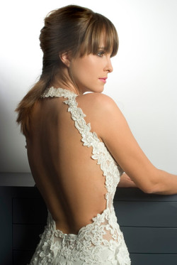 Valentina Wedding dress Lilac Leotard  Mermaid lace open back back close up - ול