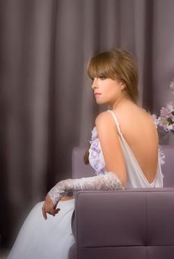 Valentina Wedding dress Iris Chiffon with flowers open lace back - ולנטינה שמלות