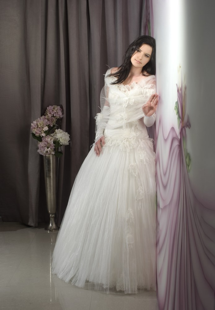 Valentina Wedding Dress Rose corset silk Tulle skirt embroidered flowers - ולנטי