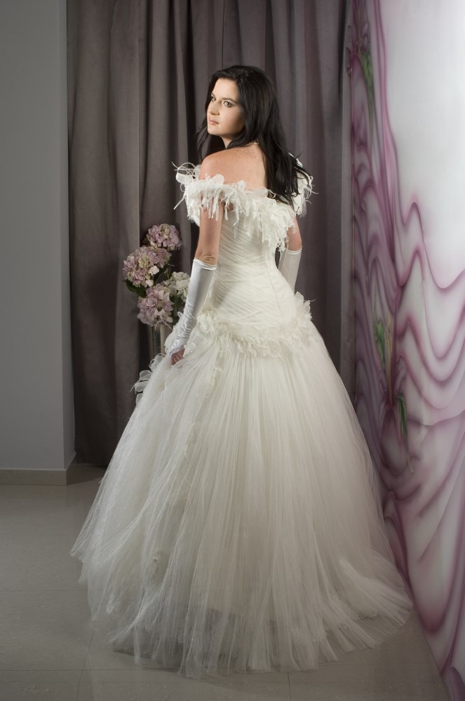 Valentina Wedding Dress Rose corset silk Tulle skirt embroidered flowers back -