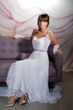 Valentina Wedding dress Iris Chiffon with flowers open lace back front - ולנטינה