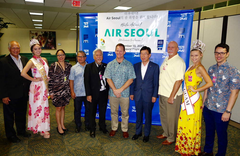 All hands on deck for Air Seoul inaugural flight at A.B. Won Pat Inter- national Airport, including Acting Governor Ray Tenorio (GVB)