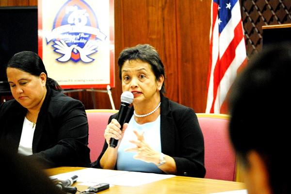 Gov. Lou Leon Guerrero speaks at a press conference