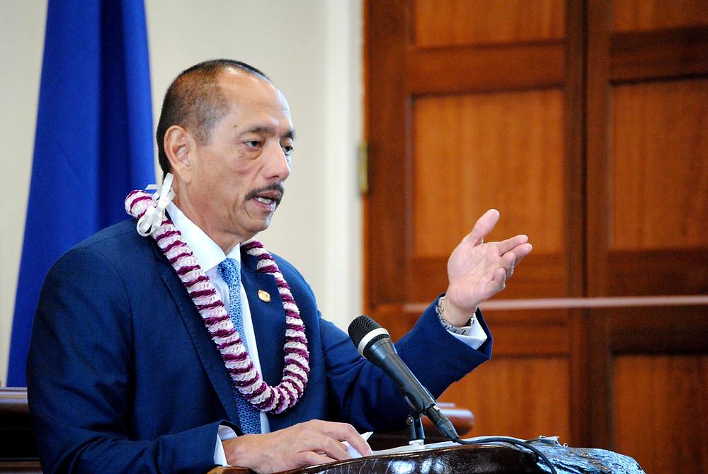 Speaker Benjamin Cruz addresses members of the 34th Guam Legislature during the inauguration ceremony Monday, Jan. 2. Photo by Bruce Lloyd