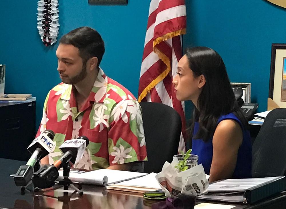 Sen. Michael San Nicolas, left, and Sen. Regine Bisco-Lee introduced Bill 11-34, proposing pay raises rollback.