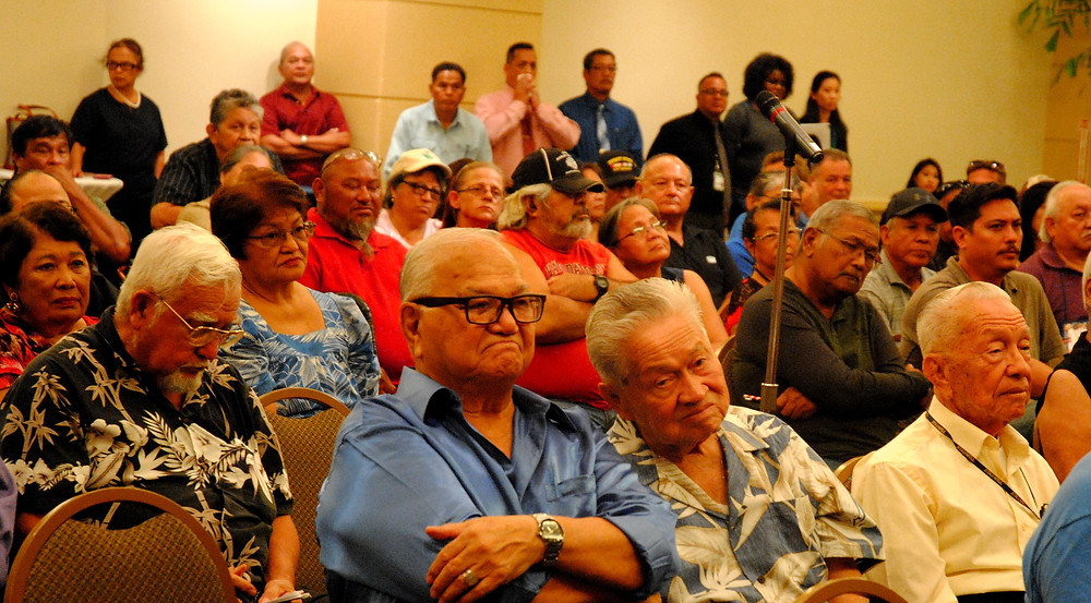 Guam veterans packed a main ballroom and an overflow room at the Guam Hilton Resort & Spa in Tumon, to present largely familiar complaints to representatives of the Honolulu Veterans Affairs Regional Office. Photo by Bruce Lloyd