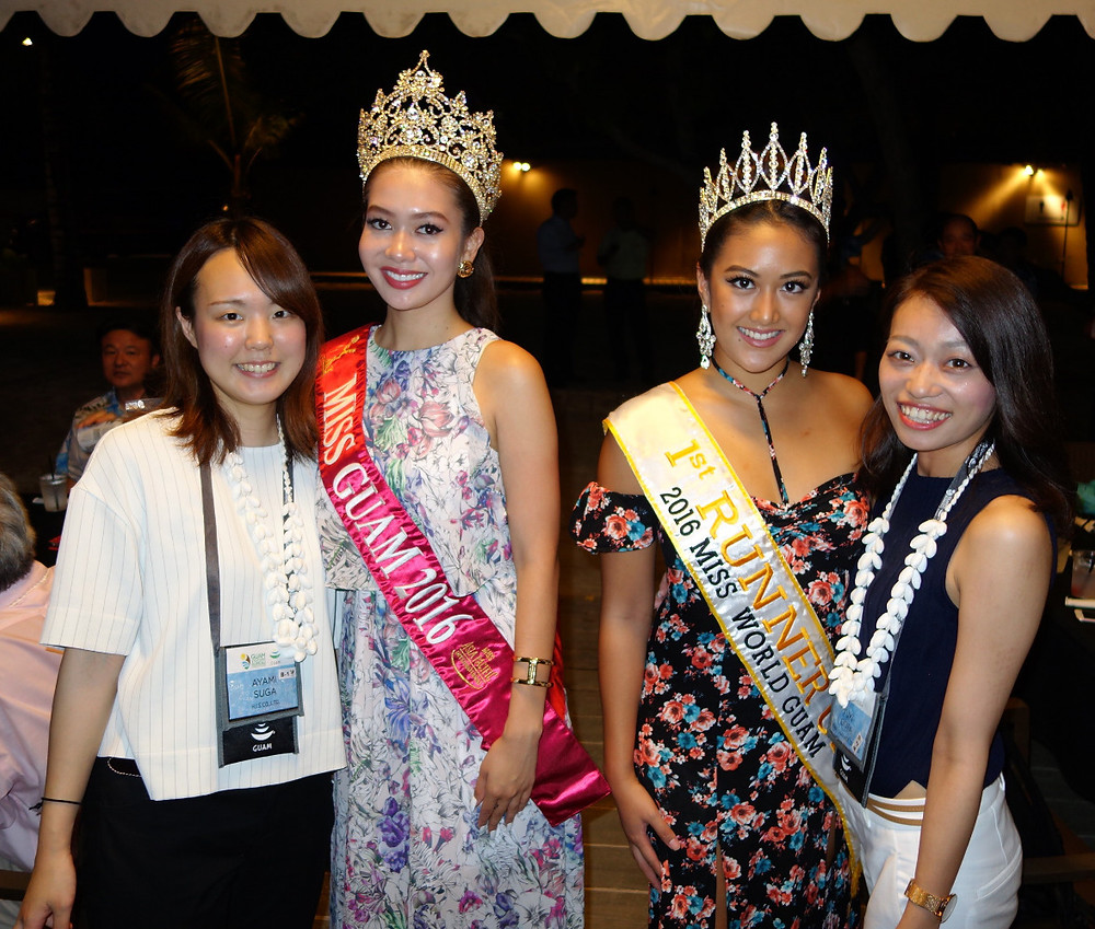 Japanese travel agents pose with 2016 Miss Asia Pacific International Guam Audre Laguaña Dela Cruz and 2016 Miss World Guam 1st Runner Up Aiyana Baker Shedd
