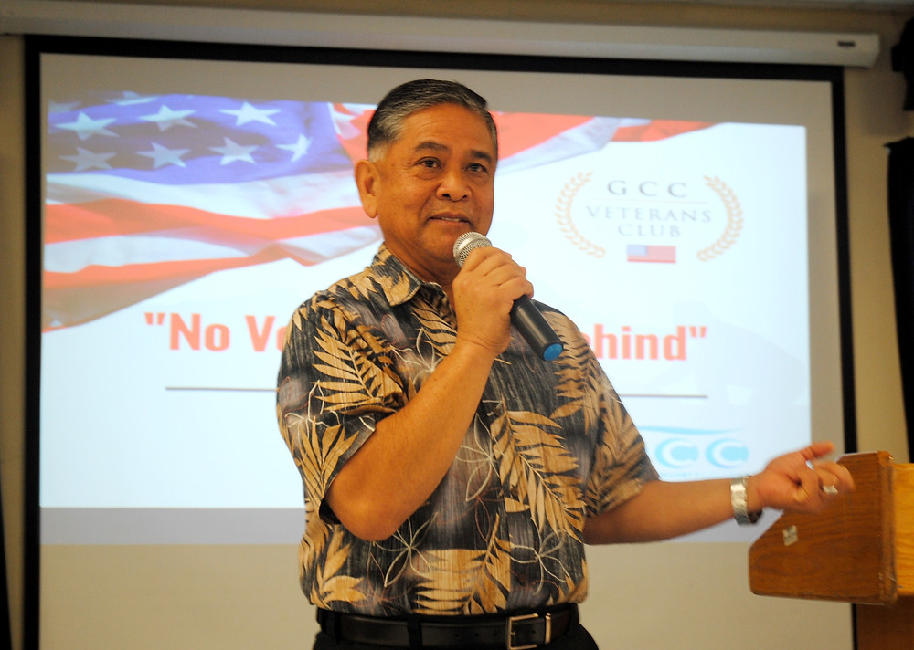 Retired Army Colonel Dennis Santo Tomas, an advisor to the GCC Student Veterans Association, urged that Guam vets not miss blooming opportunities offered by further education and training.  Photo by Bruce Lloyd