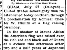 It's official. The U.S. flag raised over Guam again, July 31, 1944