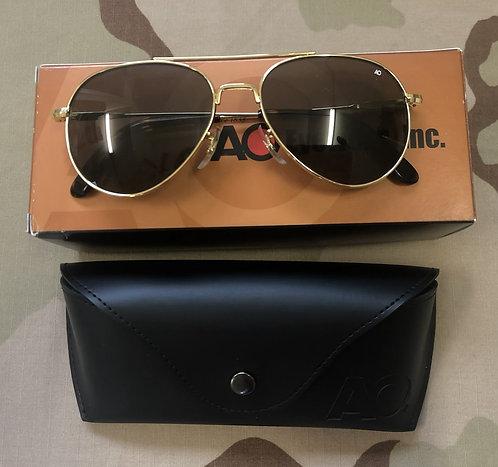 AO Eyewear Original Pilot Sunglasses - Grey Lens & Gold Frame