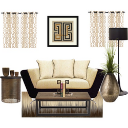 Beige on Black Couch