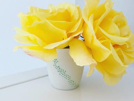 Petite tasse « bubbles » détournée pour le sauvetage de 2 roses cassées par l'orage ! Bonne journée