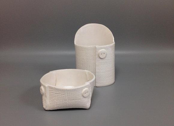 """petit pot """"Couture"""" blanc motif toile de jute"""