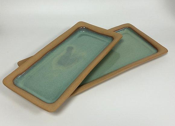 plat à cake SARLAT turquoise grand modèle