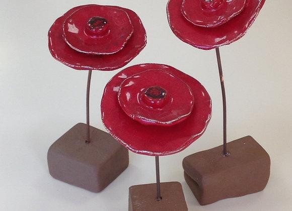 3 fleurs MON P'TIT JARDIN rouge