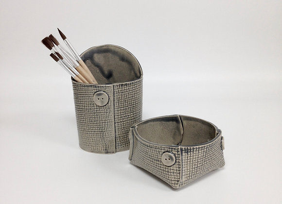 """petit pot """"Couture"""" gris motif """"toile de jute"""""""
