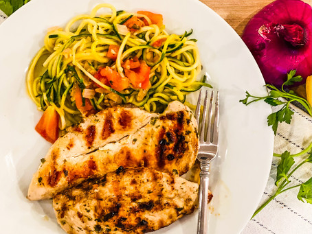 Grilled Chicken with Lemon-Garlic Zoodles